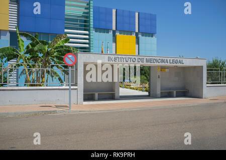 Badajoz, Spain - August 14th, 2018: Institute of Legal Medicine Building of Badajoz. Main Facade - Stock Image