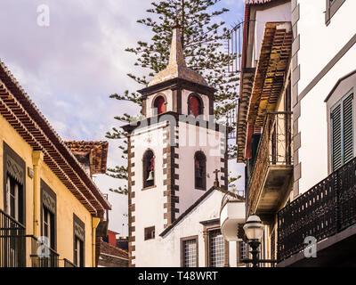 Parish of Sao Pedro in Funchal, the capital of Madeira island, Portugal, as seen from Rua das Pretas. - Stock Image