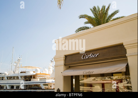 Cartier shop, Puerto Banus, Marbella, Costa del Sol, Spain - Stock Image