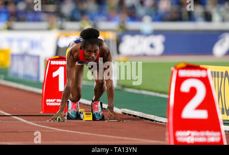 YOKOHAMA, JAPAN - MAY 12: Leonie Beu of Papua New Guinea at the start of the women's 4x200m final during Day 2 of the 2019 IAAF World Relay Championships at the Nissan Stadium on Sunday May 12, 2019 in Yokohama, Japan. (Photo by Roger Sedres for the IAAF) - Stock Image