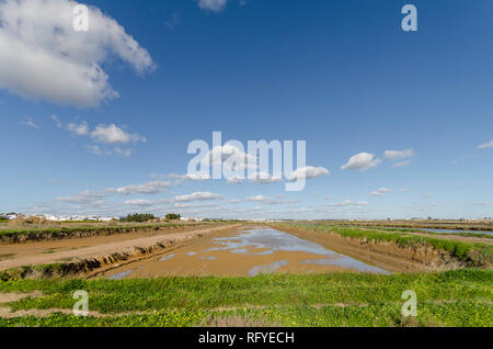 Salt pans, saltmarshes, salt evaporation pond, Tavira, Portugal, Europe. - Stock Image