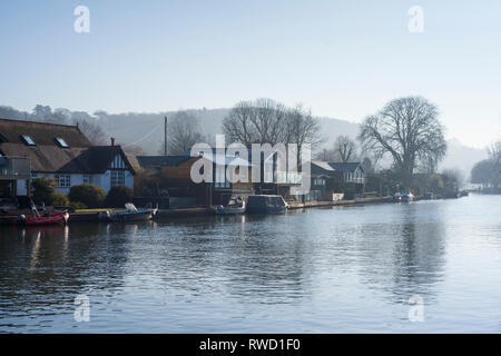 Rod Eyot, an island on the River Thames at Henley-on-Thames, - Stock Image