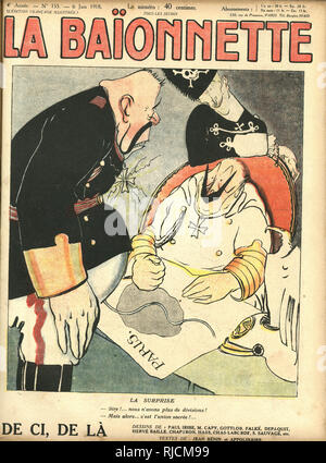 Front cover design for La Baionnette, The Surprise. Kaiser Wilhelm is shocked to discover that there are no more German troops to ensure the invasion of Paris. - Stock Image