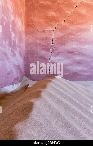Africa, Namibia, Kolmanskop. Sand-filled corner in abandoned house. Credit as: Wendy Kaveney / Jaynes Gallery / - Stock Image