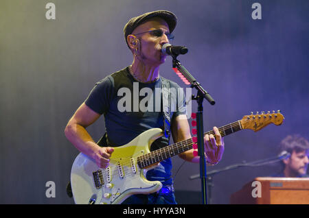 27 July 2013 - Santander, Spain - Spanish musician Fito (real name Adolfo Cabrales Mato) in concert with his group - Stock Image