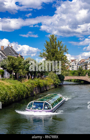 Strasbourg, Alsace, France, Batorama sightseeing river cruise boat, Ill river, Kennedy bridge, - Stock Image