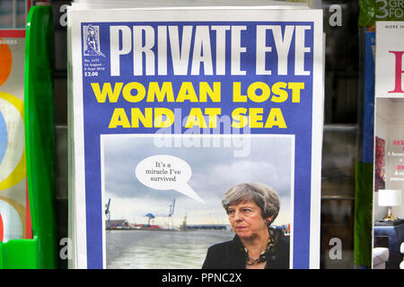 Private Eye magazine front cover 'Woman Lost And at Sea'  Prime Minister Theresa May on magazines shelf at newsagent in London England UK  August 2018 - Stock Image