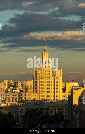 MOSCOW, AUGUST 8, 2018: Tall residential building on Kotelnicheskaya embankment of the Moscow river. One of the seven skyscrapers of Stalin's era, so  - Stock Image