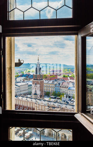 Krakow Poland. April 2019. An elevated view through St Marys Basillica window over the medieval old town in Krakow Poland - Stock Image