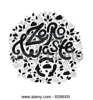 Zero waste. Calligraphy design that can be used as a print on t-shirts, bags, stationery, posters, cards. Handwritten lettering. - Stock Image