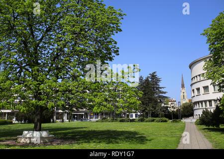 View on Mary Church and Banovina palace, Parliament building of province Vojvodina in Novi Sad, Serbia - Stock Image