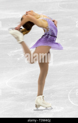 Blur motion action of Isadora Williams (BRA) competing in the Figure Skating - Ladies' Short at the Olympic Winter Games PyeongChang 2018 - Stock Image