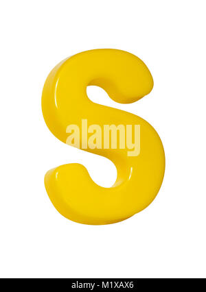 A cut out shot of a yellow plastic letter 'S' - Stock Image