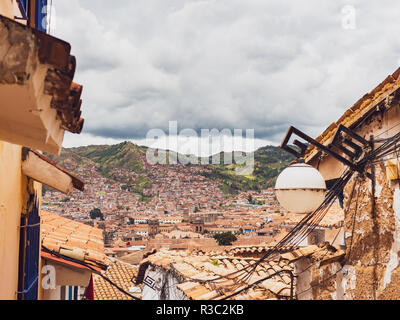 View of the Cusco city from the San Blas neighborhood - Stock Image