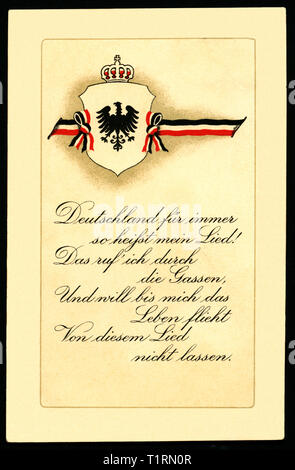 Germany, North Rhine-Westphalia, Langenberg, WW I, propaganda, patriotic postcard with shield with eagle, crown and black-white-red ribbon, below a text ' Deutschland für immer...' (Germany for ever...), postcard sent 11. 11. 2015. , Additional-Rights-Clearance-Info-Not-Available - Stock Image