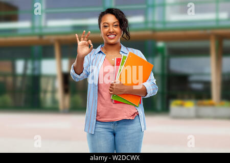 african american student woman with notebooks - Stock Image