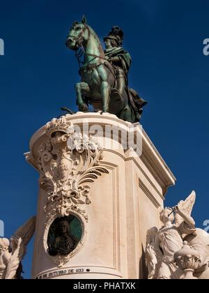 Portugal, Lisbon, Praca do Comercio, 1775 statue of King Dom Jose I on horseback - Stock Image
