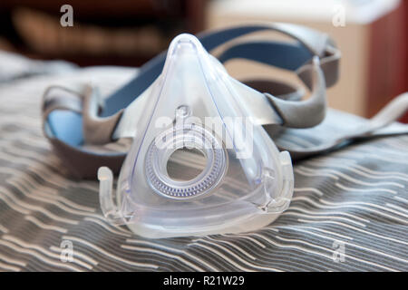 Plastic Mask used for CPAP Patients to help stop snoring - Stock Image