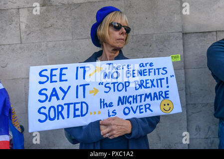 London, UK. 20th October 2018. A woman holds a poster 'See It Say It Sorted'. People gather with placards, banners and flags at Hyde Park Corner for the People's Vote March calling for a vote to give the final say on the Brexit deal or failure to get a deal. They say the new evidence which has come out since the referendum makes it essential to get a new mandate from the people to leave the EU. Peter Marshall/Alamy Live News - Stock Image