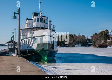 muskoka lake shipyard winter season canada - Stock Image