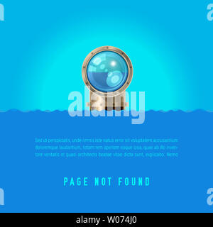 404 Page not Found Design Template. Periscope with a Shiny Lens Over the Sea. 404 Error Page Concept. Link to Non-Existing Domain. Illustration - Stock Image