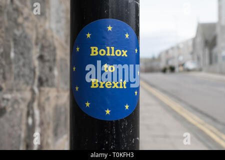 Bolloxs to Brexit sticker in Aberdeen, Scotland, UK - Stock Image
