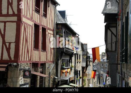 View of buildings in Rue de la Lainerie, Dinan, Cotes d'Amor, Brittany, France - Stock Image