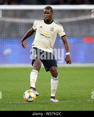 Optus Stadium, Perth, Western Australia. 13th July, 201913th July 2019, Optus Stadium, Perth, Western Australia; Pre-season friendly football, Perth Glory versus Manchester United; Paul Pogba of Manchester United passes the ball outside Credit: Action Plus Sports Images/Alamy Live News - Stock Image