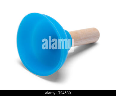 Small Blue Plunger Isolated on White Background. - Stock Image