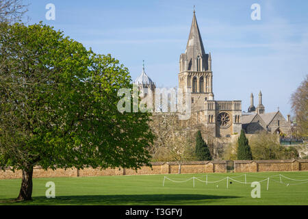 Tom Tower and the spire of Christ Church Cathedral, Oxford from Christ Church Meadow - Stock Image