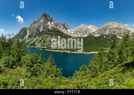 Devero Alp and lake Codelago in a beautiful day of summer season with blue sky in background, Piedmont - Italy - Stock Image