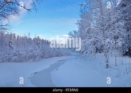 A small, ice-covered creek runs through a snowy winter forest. - Stock Image
