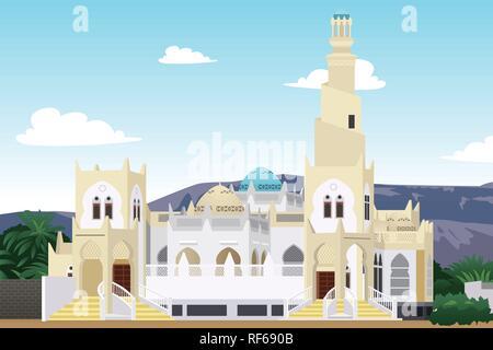 A vector illustration of Hadramaut Mosque in Yemen - Stock Image