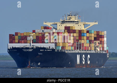 MSC Altamira off Cuxhaven - Stock Image