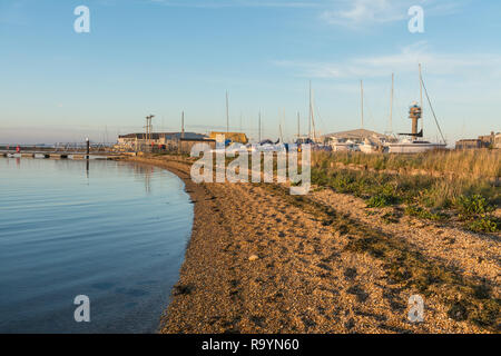 Calshot Spit, with the shingle beach and activity centre, Hampshire, UK - Stock Image