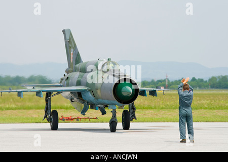 Croatian Air Force MiG-21 BISD fighter shutting down engine on mechanic hand signal, Pleso AFB during 'open - Stock Image