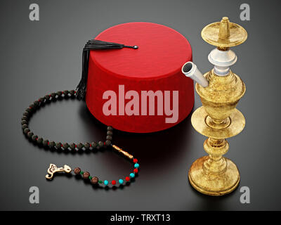 Red fez hat, prayer beads and hookah. 3D illustration. - Stock Image