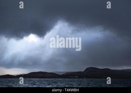 A dramatic sky as a storm brews near Kristiansund, Norway - Stock Image