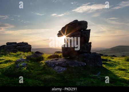 Granite rocks on Hayne Down in Dartmoor National Park, Devon - Stock Image