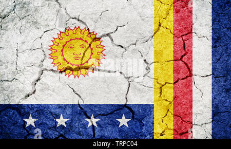 Vargas State flag, state of Venezuela, on dry earth ground texture background - Stock Image