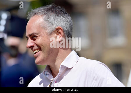Jonathan Bartley (co-leader, Green Party) on College Green, Westminster, 24th May 2019, the day Theresa May announced her intent to resign as Conserva - Stock Image