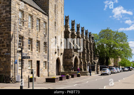 Outside of St Salvator's College chapel in University of St Andrews seen from North Street, Royal Burgh of St Andrews, Fife, Scotland, UK, Britain - Stock Image