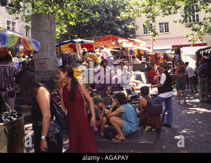 Switzerland Zurich flee market in old cioty center Niederdorf Rosenhof in summer - Stock Image