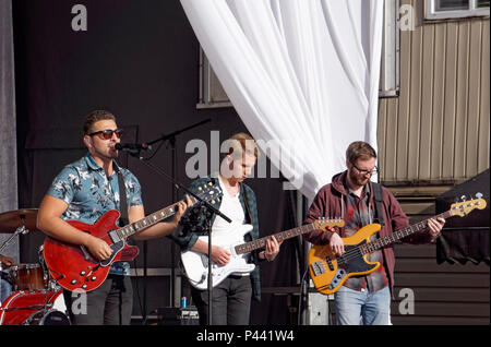 Antonio Larosa and his rock band performing at Italian Day 2018 celebrations on Commercial Drive, Vancouver, BC, Canada - Stock Image
