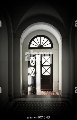 Bauhaus Hallway Door Open in Tel Aviv, Israel - Stock Image