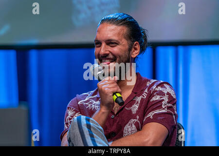 Bonn, Germany - June 8 2019: Shazad Latif (*1988, British actor - Star Trek: Discovery) at FedCon 28, a four day sci-fi convention. FedCon 28 took place Jun 7-10 2019. - Stock Image