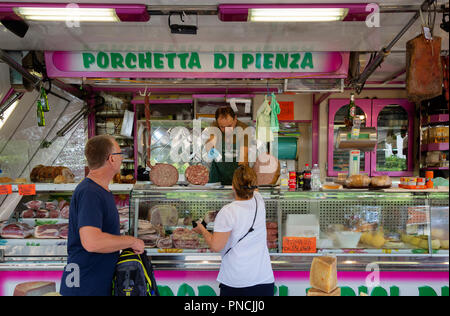 People shopping for meat for food, Siena Market, Siena, Tuscany Italy Europe - Stock Image