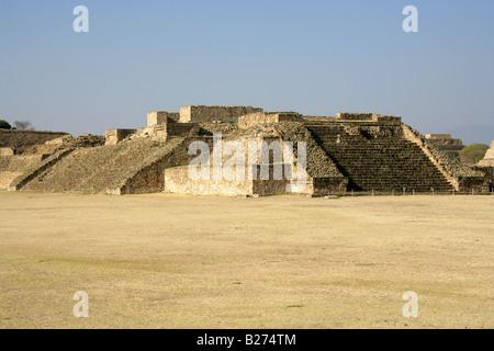 The Main Plaza, The Archeological Site at Monte Alban near Oaxaca City, Oaxaca, Mexico - Stock Image