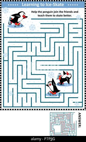 Winter or holidays themed maze game or activity page with skating penguins: Help the penguin join the friends and teach them to skate better. - Stock Image