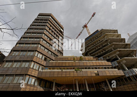 Old bank building being renovated into Media City Bergen in Lars Hilles gate, Bergen, Norway. - Stock Image